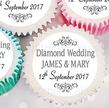 personalised diamond wedding cupcake toppers 60th anniversary