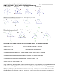 Angle Bisectors Worksheet Unit 7 Task 4 Review Worksheet