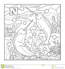coloring book narwhal stock vector image 51506047