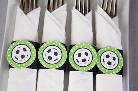 Soccer Theme Party Decorations Soccer Party Napkin Rings Silverware Wraps Soccer Party