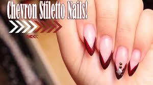 how to easy stiletto chevron nail art tutorial esmiemakeup