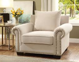Accent Chair Skyler Transitional Style Ivory Nailhead Trim U0026 Rolled Arms Accent