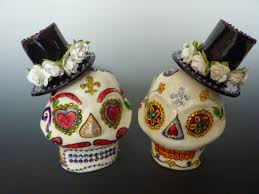 unique urns odyssey urns sugar skull wedding cake topper