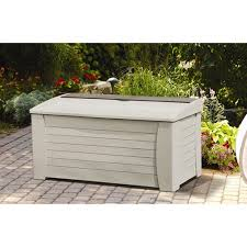 suncast 63 gallon light taupe resin deck box with rollers db6300
