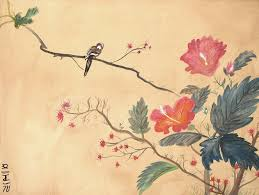 Japanese Flowers Paintings - japanese painting the eternal grasshopper