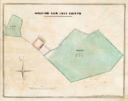 layout of mission san luis obispo c 1856 california missions