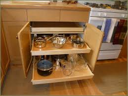 small and narrow corner kitchen cabinet with diy pull out pots and