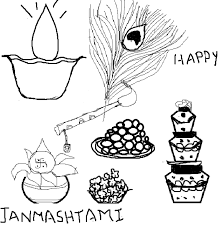 colouring sri krishna janmashtami