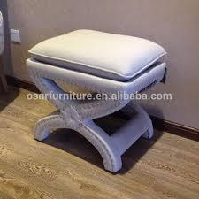 x leg studded french style fabric upholstered ottoman stool buy