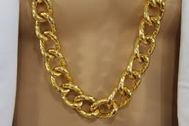 long chunky chain necklace images Gold metal thick chain links heavy long chunky necklace new men jpg
