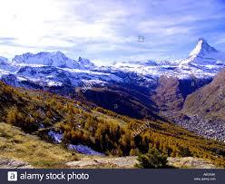 zermatt in autumn with the matterhorn and the breithorn in the