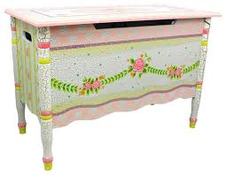 crackled rose handcrafted kids wooden toy box with safety hinge