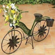 garden rustic bicycle decor outdoor welcome sculpture plant stand