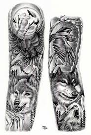 amazing flying and wolf design for arm sleeve