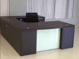 picture of chiarezza bow front with glass panel u shaped desk and hutch 72