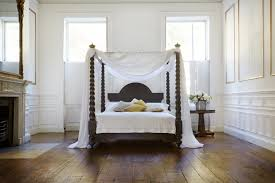 chocolate transitional varnished solid wood full size canopy bed
