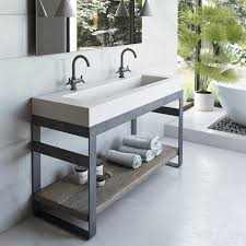 concrete sink and reclaimed wood shelf trueform decor