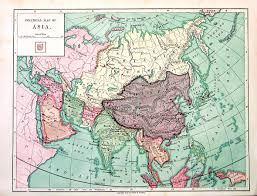 Asia Geography Map by 1875 Antique Map Political Map Of Asia Very Old Map Over