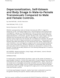 depersonalization self esteem and body image in male to female