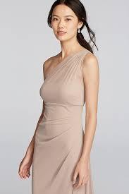 david u0027s bridal long mesh one shoulder illusion bridesmaid dress