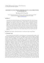assessment of the thermal performance of a coal fired power plant
