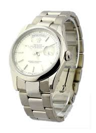 rolex bracelet white gold images 18209_used_silver_stick rolex president 36mm white gold with jpg