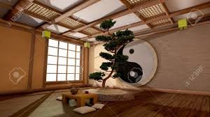 Japanese Interior Design by The Tree Image In A Japanese Interior Stock Photo Picture And