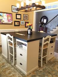 diy craft table ikea four station desk pb inspired do it yourself home projects from