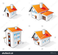 four different houses vector icons illustration stock vector