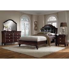 upholstered bedroom set manhattan 6 piece queen upholstered bedroom set cherry value