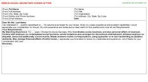 social secretary cover letter