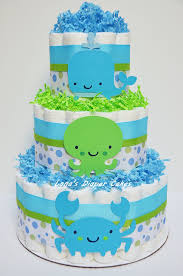 3 tier blue and green under the sea diaper cake baby shower