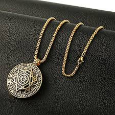 stainless steel necklace pendant images Hzman talisman seal solomon six pointed star 12 constellation jpg
