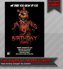 five nights at freddy s halloween horror nights five nights at freddy u0027s invitation fazzbear invitation five