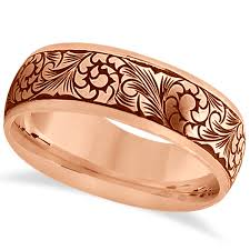 engraved rings gold images Fancy hand engraved flower design wedding band 14k rose gold jpg