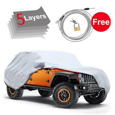 turquoise jeep car amazon com 5 layers custom fit car cover for jeep wrangler 2 door