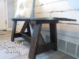 diy farmhouse style wood bench sawdust sisters