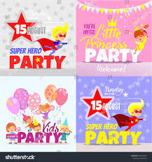 Super Concepts by Set Kids Party Invitation Design Concepts Stock Vector 388639444