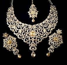 gold stone necklace images Buy designer golden stone bridal necklace set with maang tikka online jpg