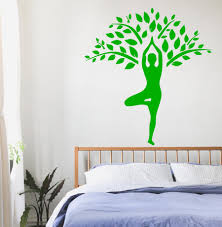green woman wall mural decals cheap yoga gymnastic tree large