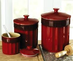 red kitchen canister set kitchen genesee 3 piece kitchen canister set endearing red