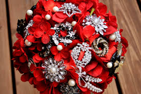Red And Silver Wedding Red Brooch Bouquet Gothic Red Black Feathers Vintage Bouquet