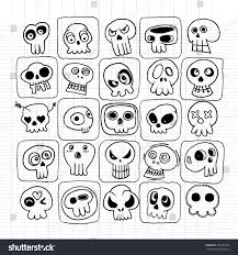 hand drawn skulls doodles vector setdrawing stock vector 308147420