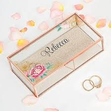personalized gold jewelry floral gold personalized jewelry box
