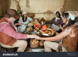 reenactment thanksgiving dinner plymouth stock photo