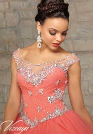 coral quince dress embroidery and beading on tulle quinceanera dress morilee