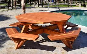 Plans For A Picnic Table With Separate Benches by Octagon Picnic Table Wood Picnic Table With Attached Bench