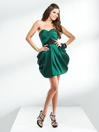 sweetheart ruched empire short strapless dark green prom dress