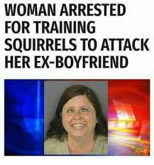 Funny Ex Meme - woman arrested for training squirrels to attack her ex boyfriend