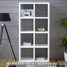 White Tall Bookcase White High Gloss 8 Square Large Tall Bookcase Sideboard